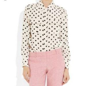J.Crew factory 100% silk polkadot Pop over blouse